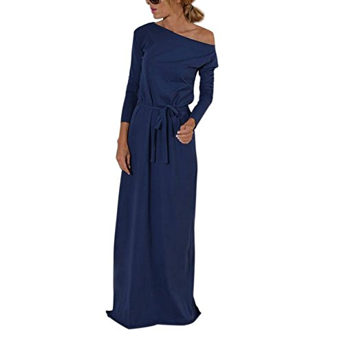 Langarm Kleider Damen Lang Kleid Home Partykleid Strandkleid Casual Slim Abendkleid Streetwear Clubwear Jerseykleid Etuikleid Blau XL Kootk (Pullover Gothic Meerjungfrau)