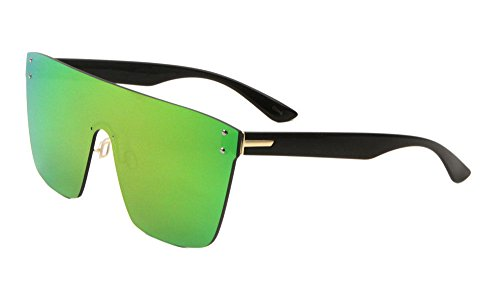 3f5bbb7cc1 Flat Top Oversized Rimless One Piece Shield Sunglasses (Black   Gold Frame