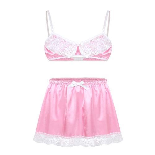 iiniim Herren Dessous Set Satin BH+Sissy Panties Höschen Nachtwäsche Nachthemd Reizwäsche Unterwäsche Set M-XL Rosa D M