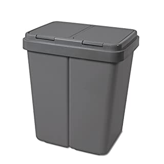 Alpfa Müllbehälter 2 x 30 L Duo Bin GRAU / GRAU NEUE FARBE !!! - Made in Europe INKL. 2 ERSATZFEDERN