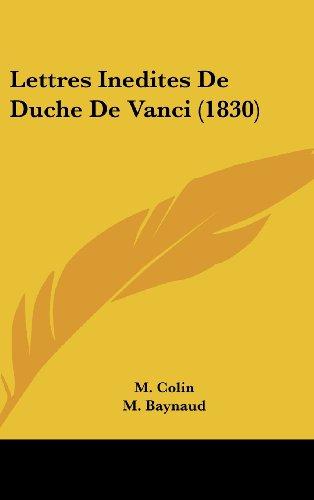 Lettres Inedites de Duche de Vanci (1830)