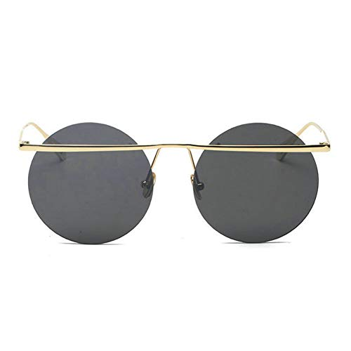 GBST Metal Legs Sunglasses Round face Ladies Sunglasses Men Tide Star Network red with The Sun Glasses Female,Gold Black