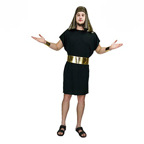 Egyptian Pharaoh Anubis Short Black Robe Instant Gents Fancy Dress ()