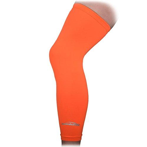 COOLOMG Kniebandage Sonne Schutz Anti Rutsh Basketball Baseball Handball Beinlinge Damen Herren Kinder 1 Paar Orange XS