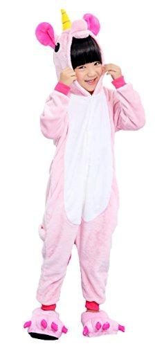 Fandecie Tier Kostüm Tierkostüm Tier Schlafanzug Pyjamas Jumpsuit Kigurumi Kinder Jugen Mädchen Einhorn Cosplay für Tier Fasching Karneval Halloween (Pink, 140: für Höhe 138-146cm) (Kostüm Kleinkind Halloween Waschbär)