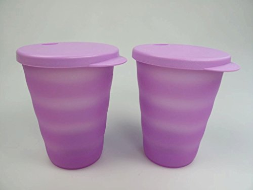 TUPPERWARE Junge Welle Trinkhalmbecher 330 ml lila (2) Trinkhalm Becher 30889