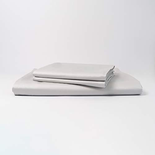 cloudlinen Luxus Bettwäsche Set aus 100{c0ca40e125cae19f02c587a8762417ca8c758552d15e97583129c128b2a1dbd9} ägyptischer Baumwolle - 200x220 (Bettbezug) + 2 * 80x80 (Kissen) - grau einfarbig/unifarben - kuscheliger, Warmer, weicher Satin für besten Schlaf