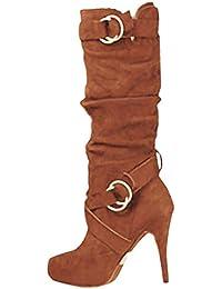 fad505871ff Minetom Bottes De Femme Daim Stiletto Talons Haut Sexy Boots Automne Hiver  Mode Casual Chaussures Bottes