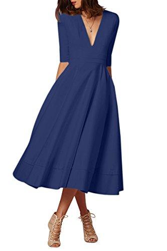 YMING Femme Robe Année 50 Rétro Vintage Robe de Soirée Midi Robe de Cocktail Robe Swing,Bleu Marin,L