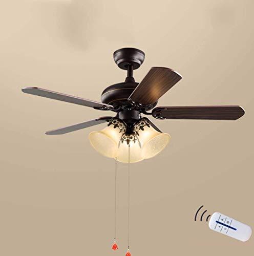 TXDZ Retro Fan Chandelier American Restaurant Luz de ventilador de techo LED...