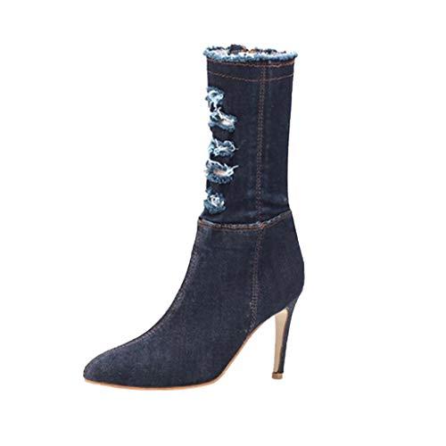 Mitlfuny Damen Sommer Sandalen Bohemian Flach Sandaletten Sommer Strand Schuhe,Damen Spring Fashion Spitzen Booties Denim High Heels Schuhe -