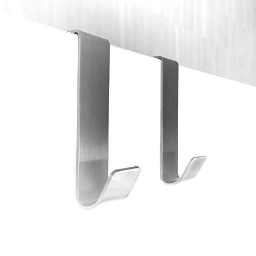 Preisvergleich Produktbild 2 Stk. Türhänger Haken für Schrank - Tür aus Edelstahl Kleiderhaken Handtuchhaken Garderobenhaken für Topflappen handtuch Besteck · 80x20mm