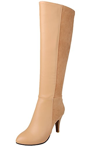 Knie Hohe Cowboy-stiefel (BIGTREE Reitstiefel Damen Casual Reißverschluss Blockabsatz Herbst Winter High Heel PU Leder Knie Hohe Stiefel Von Beige 37 EU)