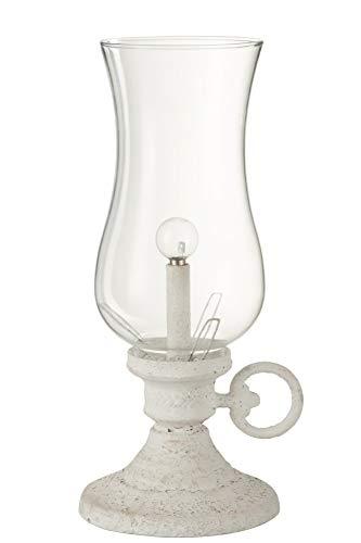 LAMPE BATTERIE LED TEO METAL/VERRE BLANC H33cm JOLIPA J-LINE 76437