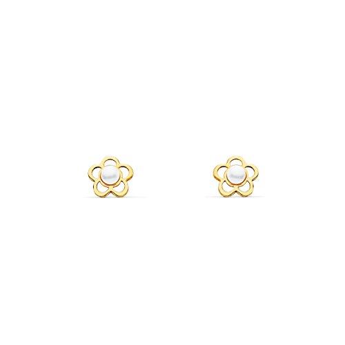 Orecchini per bambini fiore perle - oro giallo 18K (750)