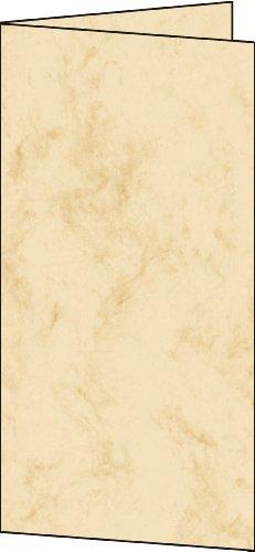 Sigel DC115 Faltkarten marmoriert beige, DIN lang, Edelkarton 185 g, 25 Stück
