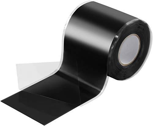 Poppstar Nastro silicone 1x 3m autoagglomerante fascia silicone per riparazione nastro nastro isolante e nastro di tenuta largo 50 nero