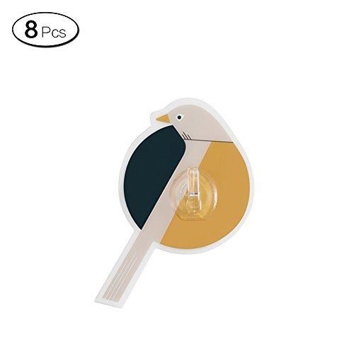 Zhi Jin 8Bird nahtlos Wandhaken Selbstklebende Haken Wasserdicht Aufhänger für Home Office Single Hook (Home-office-single)