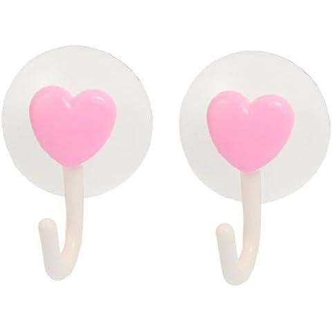 2 Piezas Rosa Forma De Corazón Decoración Toalla De Baño Ventosa Gancho Colgador Blanco