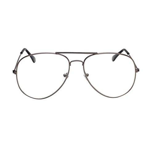 Whycat Klassische Retro Übergroße Pilotenbrille Klare Linse Memory-Legierung Rahmen UV400 Ultraleicht Al-Mg Brillenfassungen Damen(B)