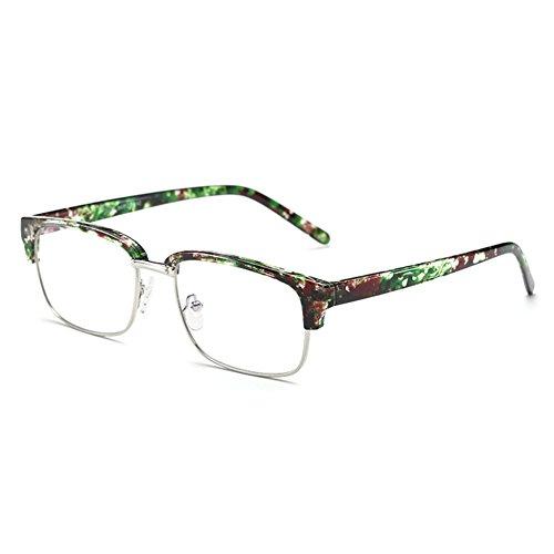 junkai Brille Quadrat Retro mit Fensterglas - Damen Herren Brillenfassung Metall Frame Transparente Linsen Brille für Lesen/Arbeiten/Unterhaltung