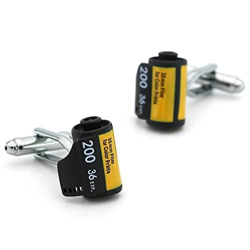 WLEYYYManschettenknopfHerren Kamera Rollfilm Manschettenknöpfe Kupfermaterial Schwarz Farbe, gelb