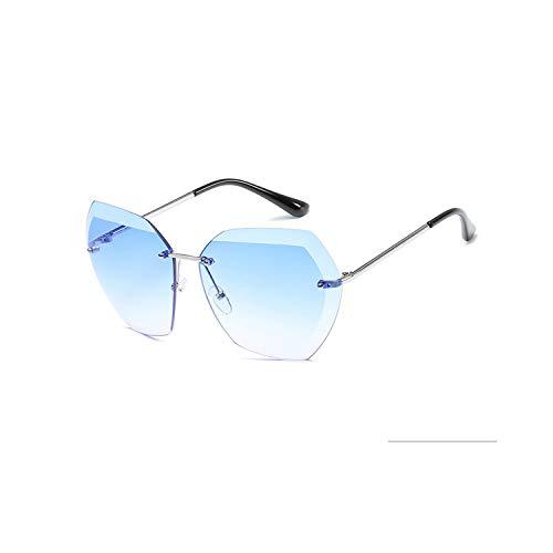 Sportbrillen, Angeln Golfbrille,New Sunglasses For Women NEW Ladies Rimless Diamond Cutting Lens Brand Designer Ocean Shades Vintage Sun Glasses Uv400 silver blue