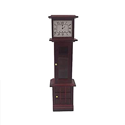 Toys Clearance! 1:12 Dollhouse Miniature Living Room Vintage Wooden Grandfather Clock Brown