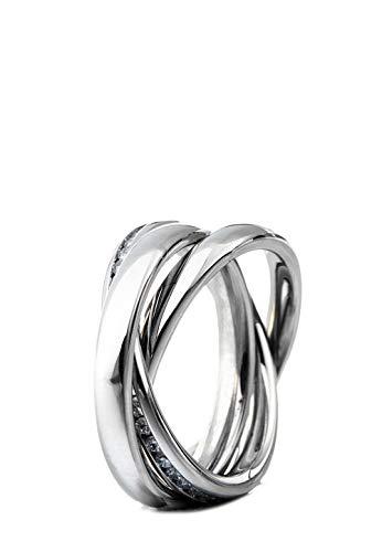 Heideman Ring Damen Triple aus Edelstahl Silber Farben poliert Damenring für Frauen Rollring Dreierring 3er Crystal 58 sr2314-3-1-58