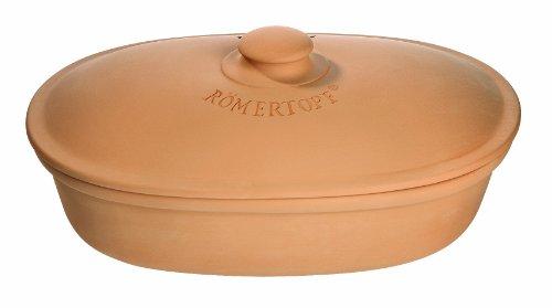 Römertopf Brottopf Keramik Brotkorb oval terrakotta braun 40 x 28 x 20 cm