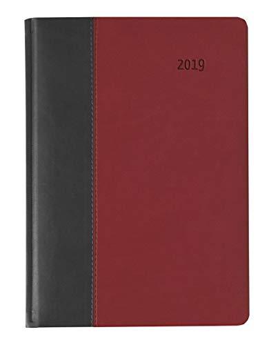 Buchkalender Premium Fire schwarz/rot 2019 - Bürokalender A5 / Cheftimer A5 - 1 Tag 1 Seite - 416 Seiten - Tucson-Einband