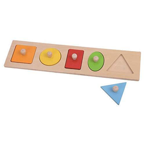 Tooky Toy - Mi primer puzle Formas de 5 piezas de madera recomendado a partir de 12 meses