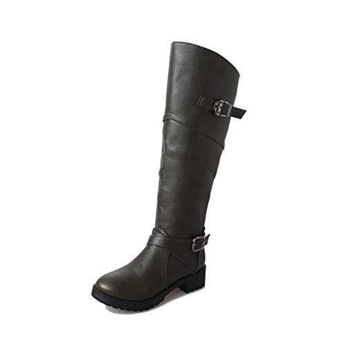 Qianliuk Frauen lässige Schnee Stiefel Flache REIT Schuhe Winter warme Frauen in der Mitte Waden Stiefel