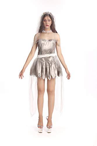 Frauen Cave Kostüm - Duuozy Weibliche Geist Braut Halloween Zombie Dark Cave Geist Weiße Nacht Mit Messenger Cosplay Bühne Pack M, L, XL,L