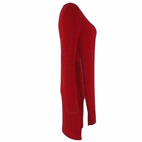 Ernte Mannschafts-lange Hülse unregelmäßigen tot Reißverschluss uns lose Pulloverkleid Pullover Rotwein