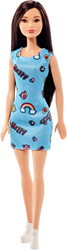 Barbie FJF16 Chic Puppe im blauen Kleid mit Prints (brünett) (Asiatisch Gesicht Produkte)