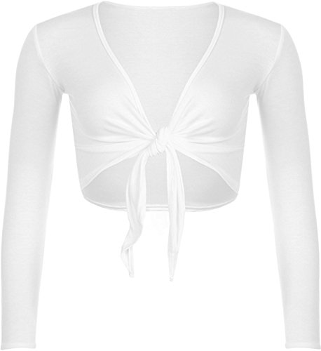 rauen Sexy Plain Langarm Shrug Fit Bolero Top Cardigan Oberbekleidung binden (WHITE, XL 44-46) (Skinny White Tie)