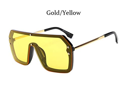 Cranky Orange Square Mirror Coating Sonnenbrille Männer Frauen Fashion Shades Vintage Pilot maskuline Brille, Goldgelb