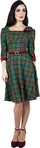 Voodoo Vixen Damen Kleid Lisle Forest 50s Tartan Swing Dress Grün M