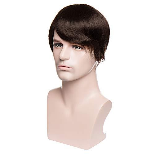 TESS Toupet für Männer Echthaar Extensions Toupee Herren Pony Haarteil Haarverlängerung Dunkelbraun Perücken - Toupet Perücke Clip