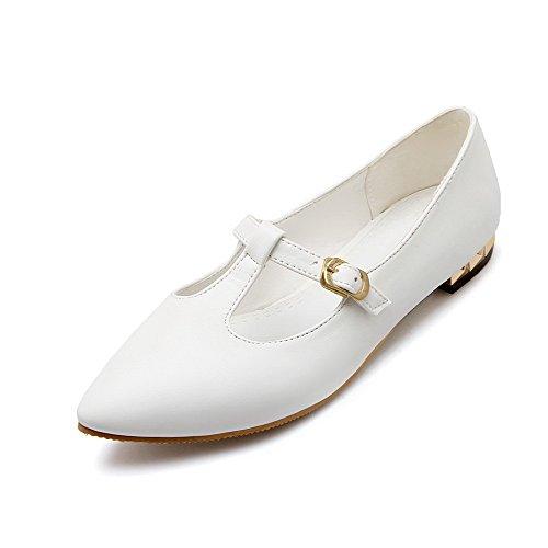 AgooLar Damen Schnalle Lackleder Spitz Zehe Ohne Absatz Rein Flache Schuhe Weiß