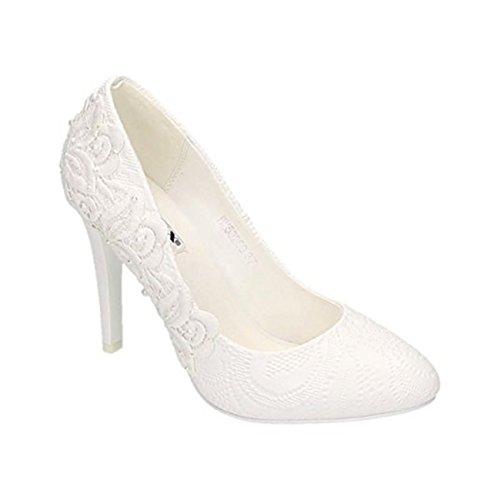 Damen Brautschuhe Hochzeit Pumps Weiß Strass Nieten Stilettos Elegant High Heels Plateau Abend Schuhe Bequem (35, Weiß 09)