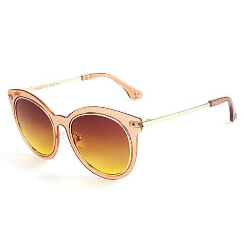 LBY Mode-Süßigkeit-Farben-Sonnenbrille-Weiblicher PC-Rahmen Cat Eye Polarisierte Sonnenbrille Sonnenbrille für Damen (Farbe : Tea Frame/Tea Lens)
