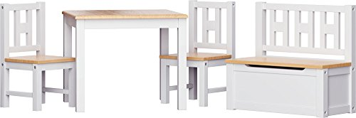 IB-Style - Kindersitzgruppe LUCA | 3 Kombinationen | 4-er Set: 1x Tisch + 2x Stühle + 1x Truhenbank - Stuhl Truhenbank Kindermöbel Tisch Kindertisch Kinderstuhl -