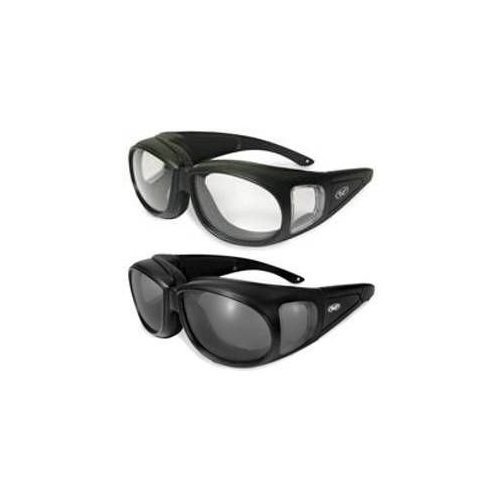 2 Motorcycle Safety Sunglasses Fits Over MOST Rx Glasses Smoke and Clear Day & Night Usage Meets ANSI Z87.1 Standards For Safety Glasses Has Soft Airy Foam Padding by GV