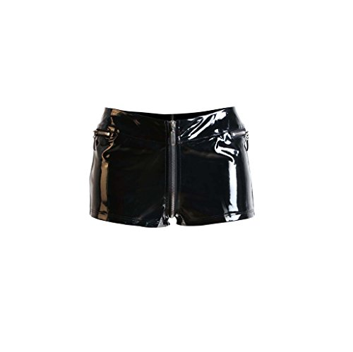 GGTBOUTIQUE Schwarz Reizvoller NahaufnahmeFitting PVC Shorts geöffnete Gabelungs Kurze Hose mit Reißverschlüssen niedrigen taillierte Reißverschluss Shorts Tanzstange Outfit für Frauen (Small)