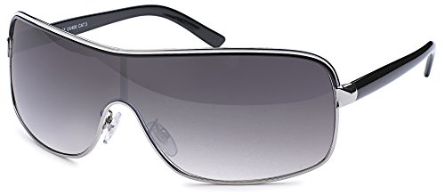 Feinzwirn Designer Visor Sonnenbrille mit Monoscheibe und Verlaufsglas Unisex Sonnenbrillen (schwarz-Verlauf)