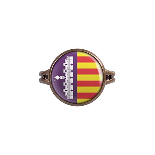 Mylery Ring mit Motiv Insel-Wappen Flagge Mallorca bronze 14mm -