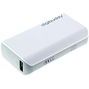 digibuddy Powerbank 4400mAh Dual USB Externer Akku + WEISS Micro/Mini-USB-Connector, mobiles Ladegerät für GoPro iPhone Samsung HTC Apple Android Tablet Handy und Smartphone