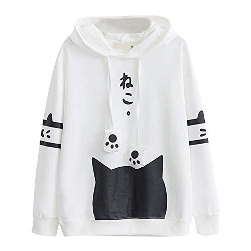 WWricotta Womens Casual Long Sleeve Kitty Cat Print Pocket Thin Hoodie Blouse Top WH/XL(Weiß,XL)